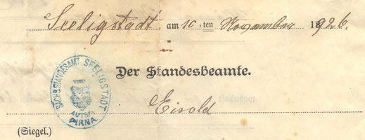 Bild: Siegel Standesamt Seeligstadt 1926