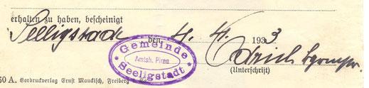 Gemeindestempel Seeligstadt 1933