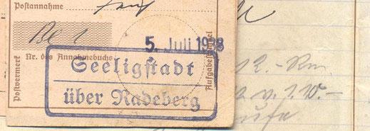 Bild: Seeligstadt Posteingang 1938