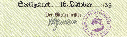Bild: Seeligstadt Amtssiegel 1939