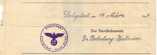 Bild: Seeligstadt Amtssiegel 1944