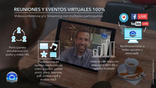 Videoconferencia y streaming con múltiples participantes y herramientas interactivas