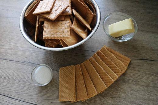 Zutaten für Käsekuchenboden aus Keksen