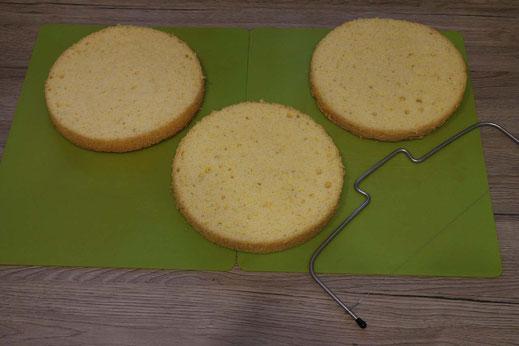 three layers of sponge cake