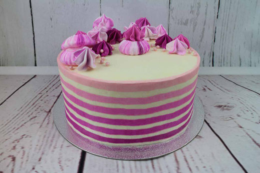 striped ombre cake with meringue
