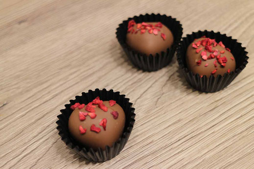 Raspberry Apricot Brandy chocolate truffles