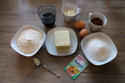 Zutaten für Schoko-Schoko-Muffins