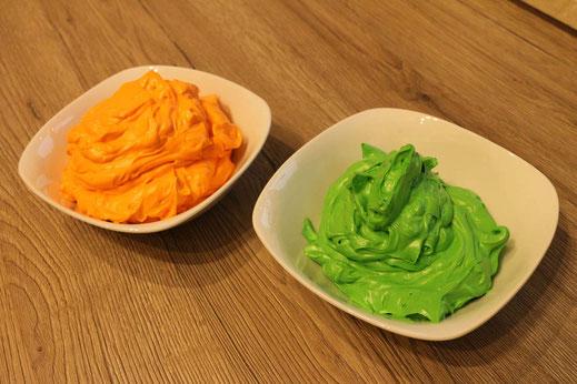 Milchmädchen Buttercreme in orange und grün