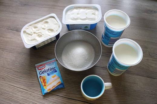 Zutaten für nobake oder Kühlschrank Käsekuchen