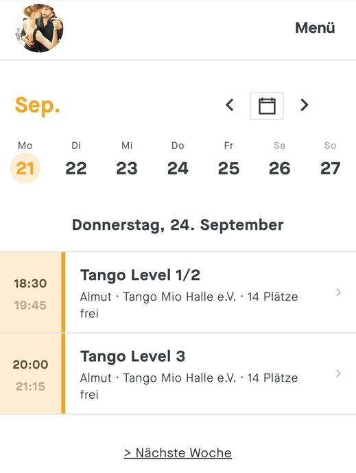 "Screenshot: Terminkalender ""TangoMio"" im Programm ""Fitogram"""