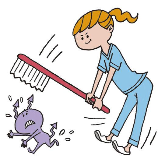 女性 虫歯菌 退治 イラスト
