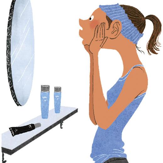 鏡の前で肌の手入れをしている女性のイラスト