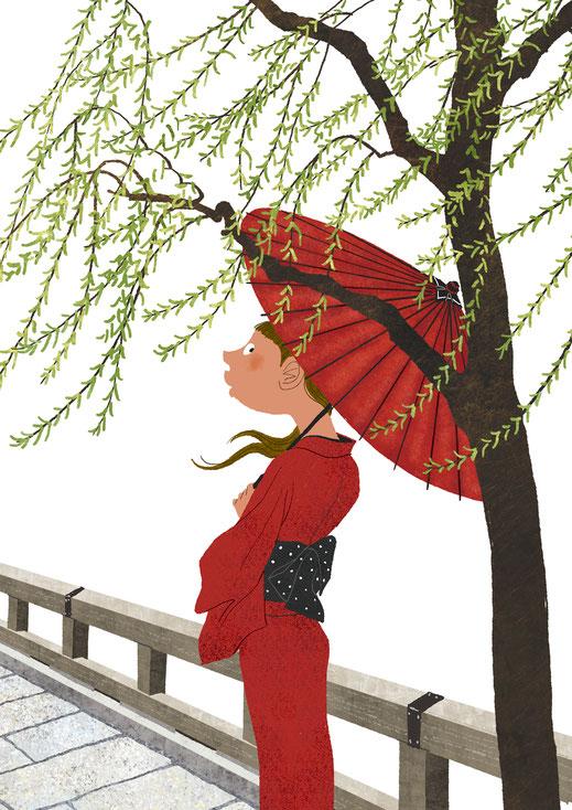 柳の木の下で和傘をさす和服の女性のイラスト