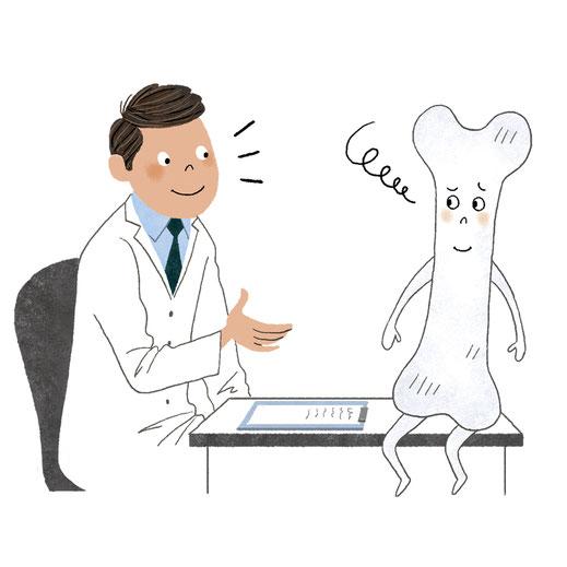 医師と骨のキャラクターのイラスト