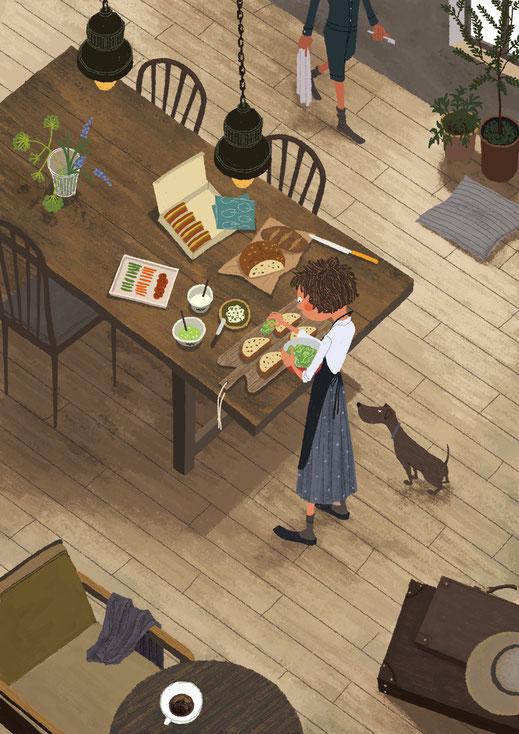 お弁当のサンドイッチを作っている女性の俯瞰イラスト