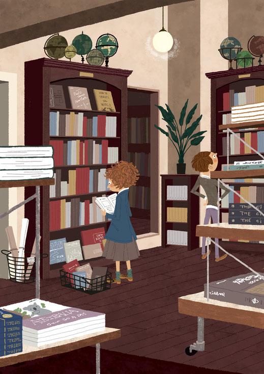 本屋で本を選んでいる男の子と女の子のイラスト