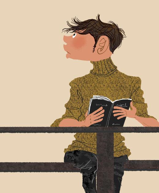 カフェで本を読んでいる男性のイラスト