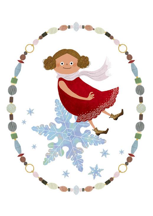 雪の結晶の上に浮かぶ女の子のイラスト