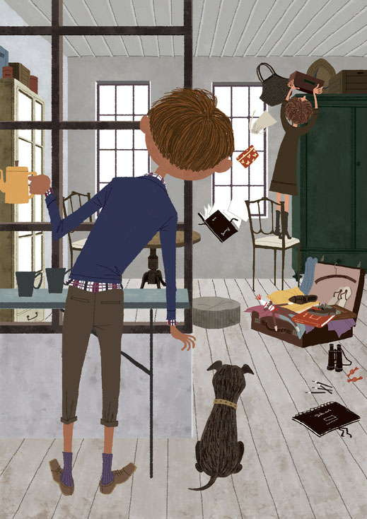 旅行支度をしている女性を見ている男性と犬のイラスト