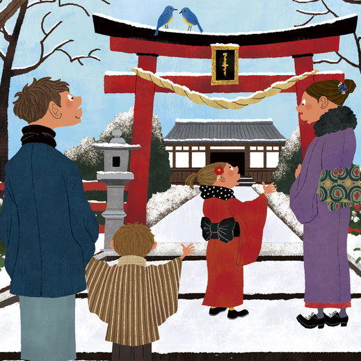初詣に向かう親子4人のイラスト
