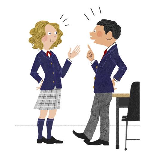 高校生の男女が話しているイラスト