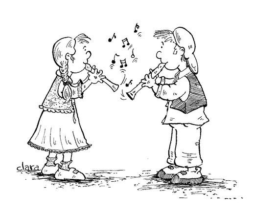 Illustration von 2 Kindern die Blockflöte spielen