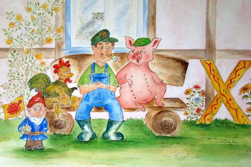 Bauer und Schwein - so wünsche ich mir das Leben mit Tieren