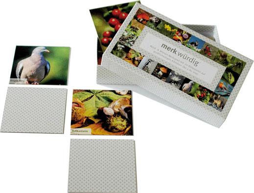 Schachtel mit allen Motiven des Spieles auf dem Deckel;  Bildkärtschen mit Ringeltaube und Roßkastanie