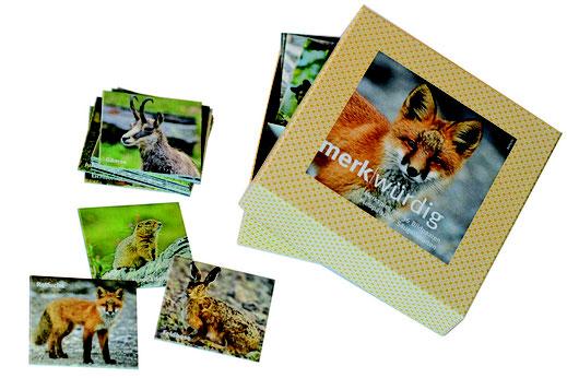 Zu sehen ist die Verpackung. Grundfrabe goldgelb bis ocker. Titelbild auf dem Deckel ist der Rotfuchs. Spielkärtchen mit Abbildungen von Gemse, Ziesel Rotfuchs und Feldhase.