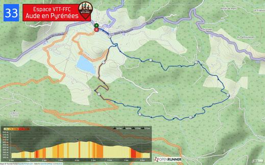 Carte circuit VTT n°33 - Espace VTT FFC Aude en Pyrénées
