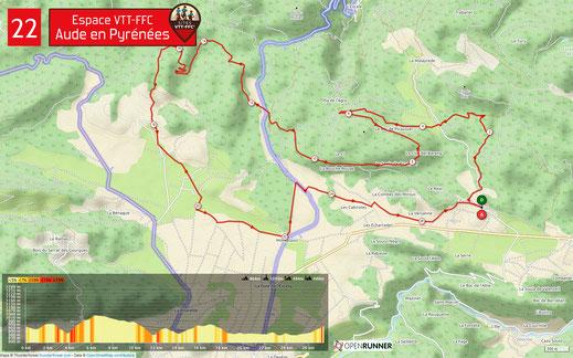 Carte circuit VTT n°22 - Espace VTT FFC Aude en Pyrénées