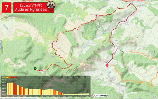 Carte circuit VTT n°7 - Espace VTT FFC Aude en Pyrénées