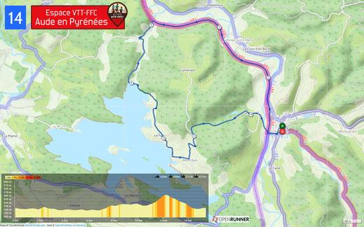Carte circuit VTT n°14 - Espace VTT FFC Aude en Pyrénées