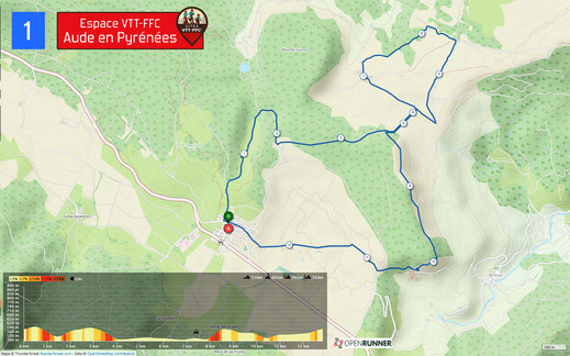 Carte circuit VTT n°1 - Espace VTT FFC Aude en Pyrénées