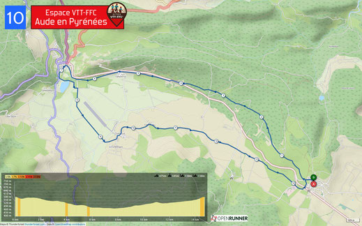 Carte circuit VTT n°10 - Espace VTT FFC Aude en Pyrénées
