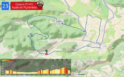 Carte circuit VTT n°23 - Espace VTT FFC Aude en Pyrénées