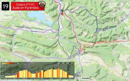 Carte circuit VTT n°19 - Espace VTT FFC Aude en Pyrénées