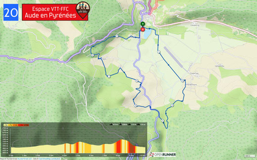 Carte circuit VTT n°20 - Espace VTT FFC Aude en Pyrénées