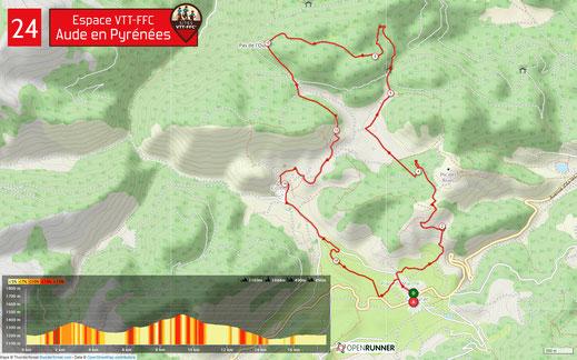Carte circuit VTT n°24 - Espace VTT FFC Aude en Pyrénées
