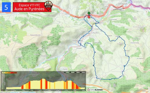 Carte circuit VTT n°5 - Espace VTT FFC Aude en Pyrénées