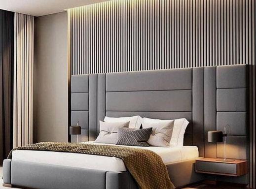 Mobiliario para habitaciones de hotel, habitación de hotel cabezal de cama tapizado.