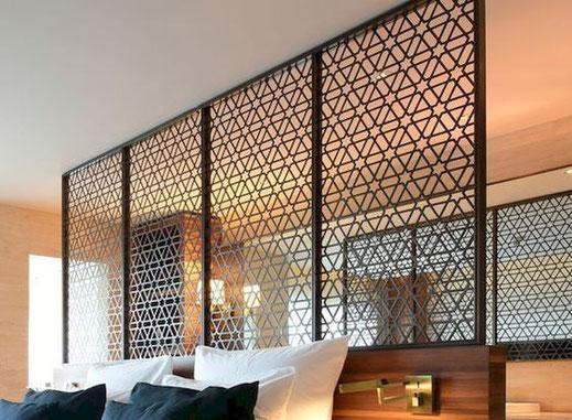 Dormitorios para hotel, Cabezal de cama para hotel combinado metal y madera.