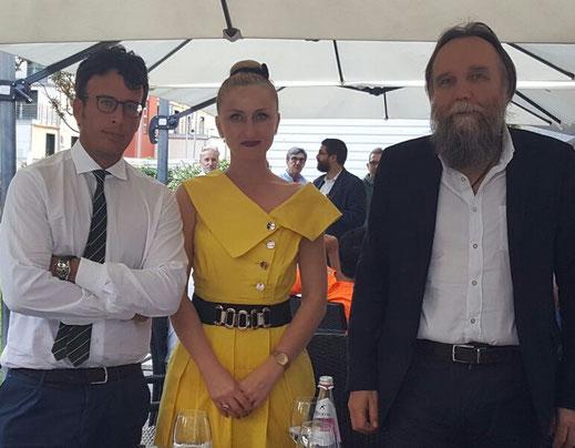Da sinistra: il filosofo Diego Fusaro, la Nobildonna Lali Panchulidze e il politologo Alexander Dugin