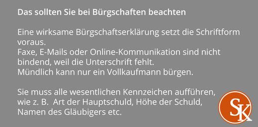 Tipps Sabine Kleinke Bürgschaften
