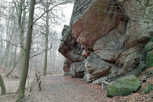 Ein Wanderweg führt im Wald im Harz um einen großen Felsen herum.