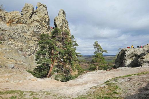 Eine Felswand mit drei Spitzen steht im Harz an der Teufelsmauer.