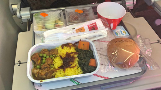 Kenya Airways 787 Economy Class food