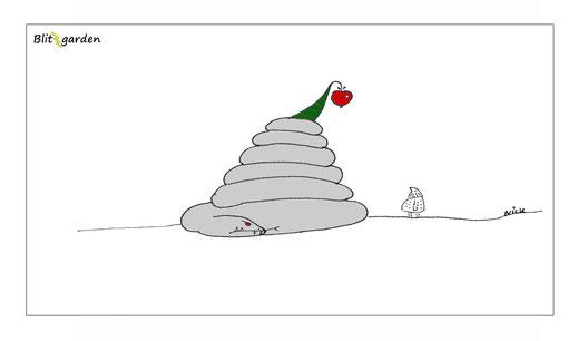 Blitzgarden Cartoon für Menschenkenner-Mkt. Oli Kock: Urmensch Schlange Apfel