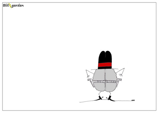 Blitzgarden Cartoon für Menschenkenner-Mkt. Oli Kock: Hirn als Revolverheld