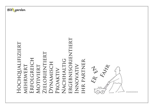 Blitzgarden Cartoon für Menschenkenner-Mkt. Oli Kock: Phrasenmäher